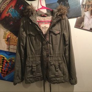 HOLLISTER SHERPA LINED MILITARY JACKET XS